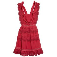 Self-portrait Tiered broderie-anglaise mini dress (€205) ❤ liked on Polyvore featuring dresses, red, tiered dress, fit flare dress, short dresses, red ruffle dress and sleeveless dress
