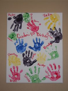 Hand Prints of all the kids at my son's 4th Birthday Party!! The kids loved it!
