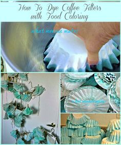 How To Dye Coffee Filters With Food Coloring are easy to create. I made these and used them at a wedding reception as a false ceiling. It looked phenomenal.