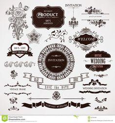 Векторных элементов дизайна свадебных и каллиграфические страницы украшения
