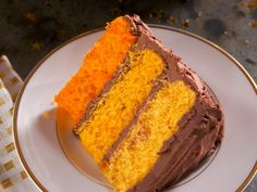 Get Orange Ombre Birthday Cake with Chocolate Frosting Recipe from Food Network