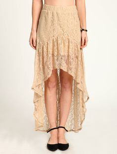 at Love Culture // taupe LACE HI LOW SKIRT