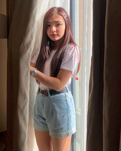 Image may contain: 1 person, standing and shorts Home Studio Photography, Girl Photography Poses, Filipino Girl, Ideal Girl, Uzzlang Girl, Selfie Poses, Cute Girl Face, Filipina, Girl Crushes