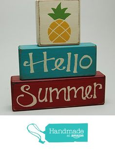 Hello Summer - Pineapple - Primitive Country Distressed Wood Stacking Sign Blocks Seasonal Holiday Summer Spring Home Decor from Blocks Upon A Shelf http://www.amazon.com/dp/B01EB2336K/ref=hnd_sw_r_pi_dp_7gGmxb18Y0A7Y #handmadeatamazon
