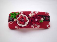 Handmade FRENCH BARRETTE, Red white flowers, Peony kanzashi, Cottage chic, Upcycled batik and silk, Fabric flower hair clip, ooak