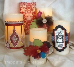 Snippets and Pretties: Candle Wraps. Velcroed bands. Easily interchangeable