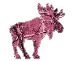 Moose-Decal-Pink-Camo-Hunting-Bull-Hunter-Vinyl-Window-Sticker-RH-EMV