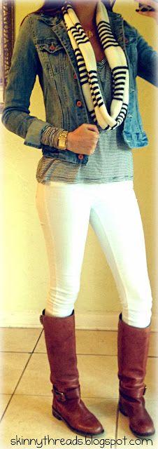 Wintery way to wear my white jeans.
