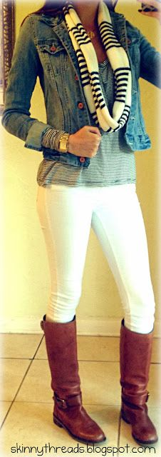Wintery way to wear my white jeans.