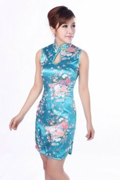 1d393fb1b Amazon.com: JTC Women's Chinese Blue Silk Short Cheongsam Dress 1pc:  Clothing
