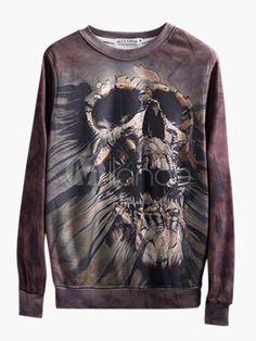 Skull Pattern Sweatshirt with Long Sleeve in Slim Fit - Milanoo.com