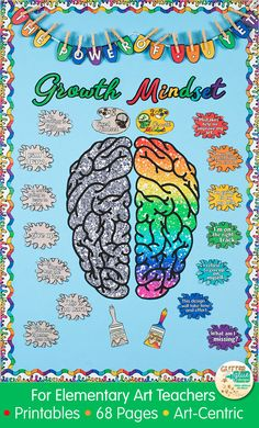 Teach your students to praise their effort, not talent and you will find they are apt to be challenged more moving forward. I've developed these growth mindset posters for the classroom specifically with art teachers in mind. Each fixed or growth mindset phrase is overlapped onto a splatter of paint. You also get two brushes which are great for demonstrating how to brush away all that negative self-talk!