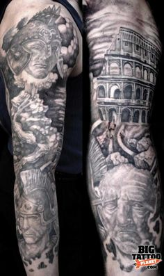 Roman tattoo full sleeve