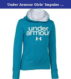 Under Armour Girls' Impulse Holiday Cotton Hoody Teal Ice / White Small. FEATURES of the Under Armour Girls' Impulse Holiday Cotton Hoody Lightweight cotton fleece delivers superior comfort without sacrificing performance Soft, brushed interior traps heat to keep you warm without the bulk Signature Moisture Transport System wicks sweat to keep you dry and light Lined 2-piece hood with crossover neck for enhanced comfort Classic kangaroo pocket Screen printed UNDER ARMOUR front graphic...