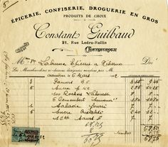 Vintage receipts from France: free clip art.