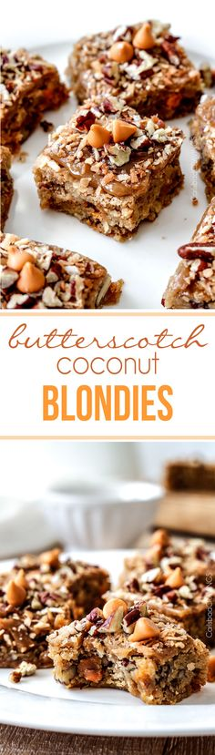 NO MIXER, easy soft, chewy, Butterscotch Coconut Blondies infused with butterscotch chips, toasted coconut and pecans topped with the most incredible Butterscotch Glaze! Brownie Recipes, Cookie Recipes, Dessert Recipes, Bar Recipes, Recipies, Eat Dessert First, Dessert Bars, Easy Desserts, Delicious Desserts