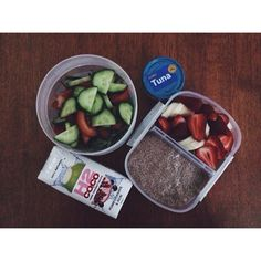Bit of food for uni today. It been a painful and tiring day already.  #food #breakfast #lunch #chia #chiaseeds #chiapod #banana #strawberries #coconutwater #h2coco #tuna #salad #kale #yum #yummy #delicious #flatlay #uni #unifood #unisnacks #Padgram