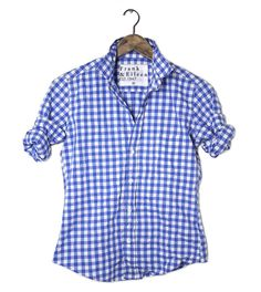 BARRY at Frank & Eileen in ROYAL BLUE LARGE GINGHAM