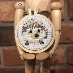Adorable wide Hedgehog embroidery, available as a keyring, badge, fridge magnet or necklace. Framed in a 1 wooden embroidery hoop and backed with a sturdy wooden circle. Makes a perfect little gift for a wildlife or hedgehog lover. Wooden Embroidery Hoops, Embroidered Gifts, Thing 1, Little Gifts, Hedgehog, Magnets, Badge, Diy, Needlepoint