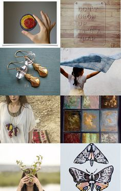 """may you stay...forever young"" - a wonderful treasury curated by Carter, of WomanShopsWorld, featuring my vintage window painting ""Ojos Asi"" --Pinned with TreasuryPin.com"