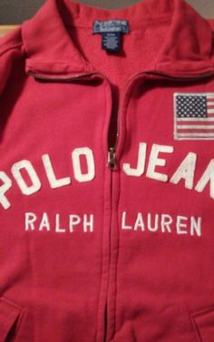 aa8ca4458cf Vintage Polo Sport Ralph Lauren Red Fleece Patriotic Hoodie USA Flag Small