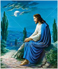 Jesus Sitting Overlooking Jerusalem God and Jesus Christ Jesus Our Savior, Jesus Art, Jesus Is Lord, Pictures Of Jesus Christ, Religious Pictures, Religious Art, Wal Art, Saint Esprit, Biblical Art