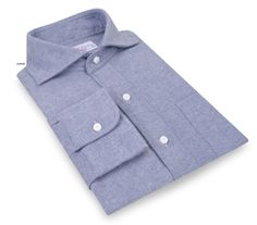 Luxire shirt constructed in Blue Twill Flannel: http://custom.luxire.com/products/cotton-blue-twill-flannel-bh_100356  Consists of President cutaway collar and single button cuffs.