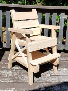 Special Needs Kids Chair, Cerebral Palsy, Muscular Dystrophy, Toddler Boy / Girl, Childrens Outdoor Furniture, Reclaimed Wood by…