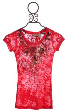 Girls Miss Me Burnout Coral T-Shirt  $49.00