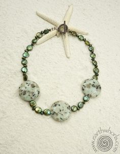 Kiwi Jasper, Fresh Water Pearl, Hill Tribe & Bali Silver Necklace