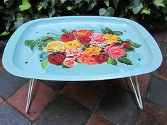 1960's Vintage Retro Folding Metal Tray / Lap Tray / TV Dinners Camping Picnics... Imagine a big smiley face that said have a nice day that's what my metal tv tray of the 70's looked like.  I liked it a lot! ;)