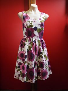 Retro Bloom Hazel Dress sz12. Dear Hazel. One of a kind vintage upcycled fabric.