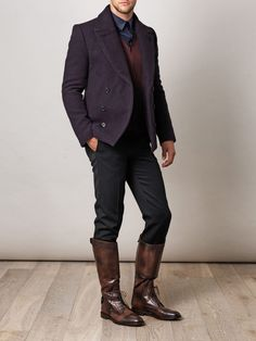 Gucci Brogue Riding Boots in Brown for Men