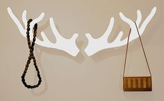 White Deer Antler Coat Rack Design Inspiration Ideas, 36 interior & decoration designs in Unique Modern Coat Rack Designs gallery. I like this idea, easy to make.