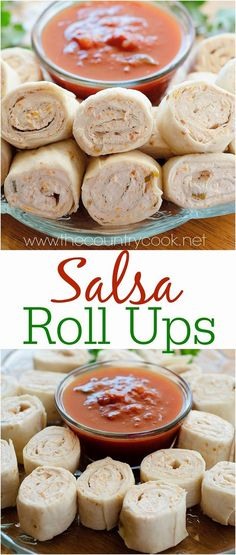 Salsa Roll Ups recipe from The Country Cook. Tortillas filled with a creamy cheese and salsa mixture, rolled up and then sliced. These are so easy and can be made in just minutes. Serve with salsa for dipping! Perfect for Cinco de Mayo!