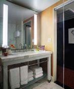 Hotel Modera guestroom bathroom.