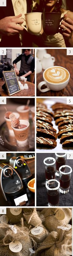 Love the idea of a coffee bar at a wedding reception - guests will be ready to party all night!