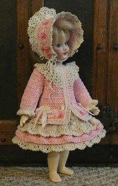 "FANCY VICTORIAN STYLE CROCHETED DRESS SET FOR 11"" BLEUETTE/BISQUE DOLL*by Tina"