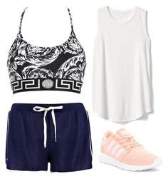 """""""WORKOUT ."""" by victoriaw568 ❤ liked on Polyvore featuring Versace, Boohoo, Gap and adidas"""