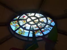 Ceiling dome at the ticket office of the Jurong Bird Park, Singapore. Stained Glass Windows, Ticket, Singapore, October, Ceiling, Bird, Birds, Stained Glass, Stained Glass Panels