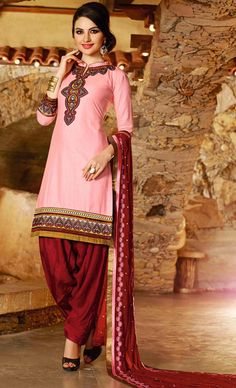 USD 31.68 Pink Cotton Embroidery Patiala Suit 44848