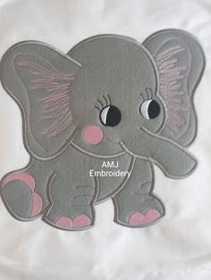 Large applique elephant! Please note all AMJ Embroidery digital designs are subject to copyright
