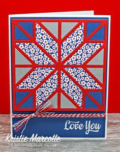 handmade quilt card ... die cut patch work star in red, white and blue ... luv the patterned paper in the central star ...