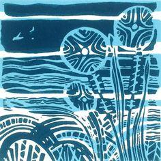 Lakeside Original Linocut Relief Print
