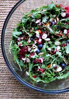 Toasted Almond & Blueberry Arugula #Salad with Goat Cheese + Blueberry Balsamic Vinaigrette. Ultimate #Summer salad #recipe!