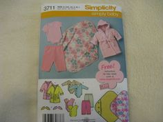 Simplicity Simply Baby Pattern 3711 Size XXS by KCDesignandBuild, $3.00