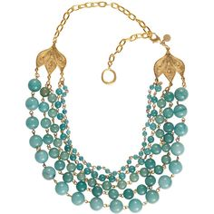 Blue Beaded Necklace found on Polyvore