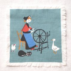 MCM Fairy Tale Cocktail Napkin HCA Woman Spinning by LinensandThings, $12.00
