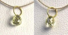 One bead of NATURAL Canary CONFLICT FREE Diamond 18K GOLD PENDANT .29 cts 8798Q - Premium Bead