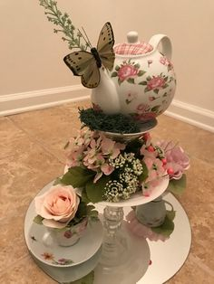 Tea Party Floral Teapot Centerpiece More from my sitePhoto 1 of Sock Hop Theme diner / Birthday Sock Hop Diner Teapot Centerpiece, Tea Party Centerpieces, Tea Party Decorations, Decoration Table, Teacup Centerpieces, Easter Centerpiece, Teapot Crafts, Cup Crafts, Table Rose